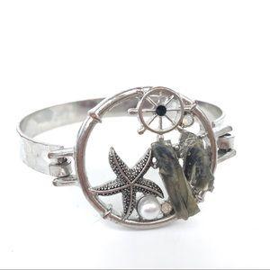 Beachy Nautical Bracelet Starfish Stone Silvertone